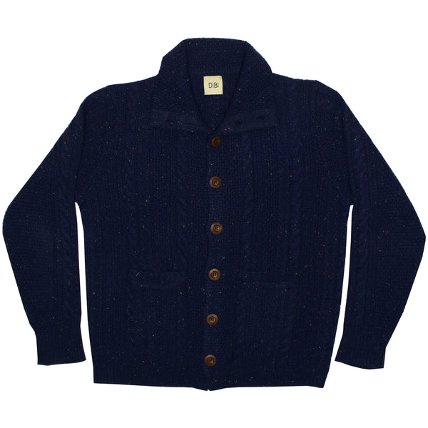 Navy Donegal Cardigan Sweater