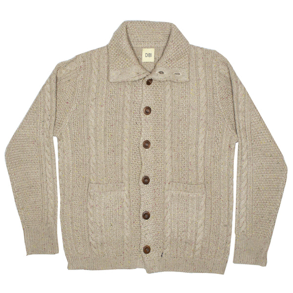 Oatmeal Donegal Cardigan Sweater