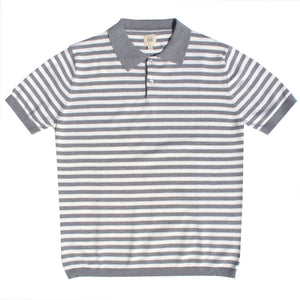 Grey & White Striped Polo