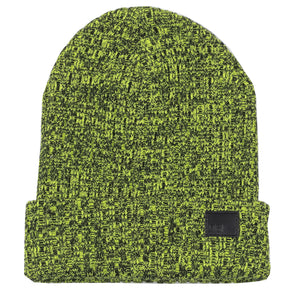 Black & Neon Yellow Melange Beanie