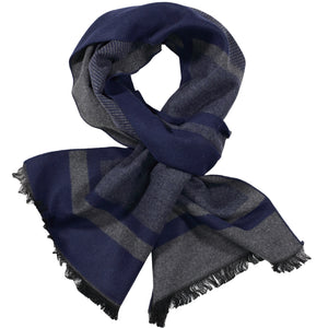 Navy & Grey Pattern Scarf