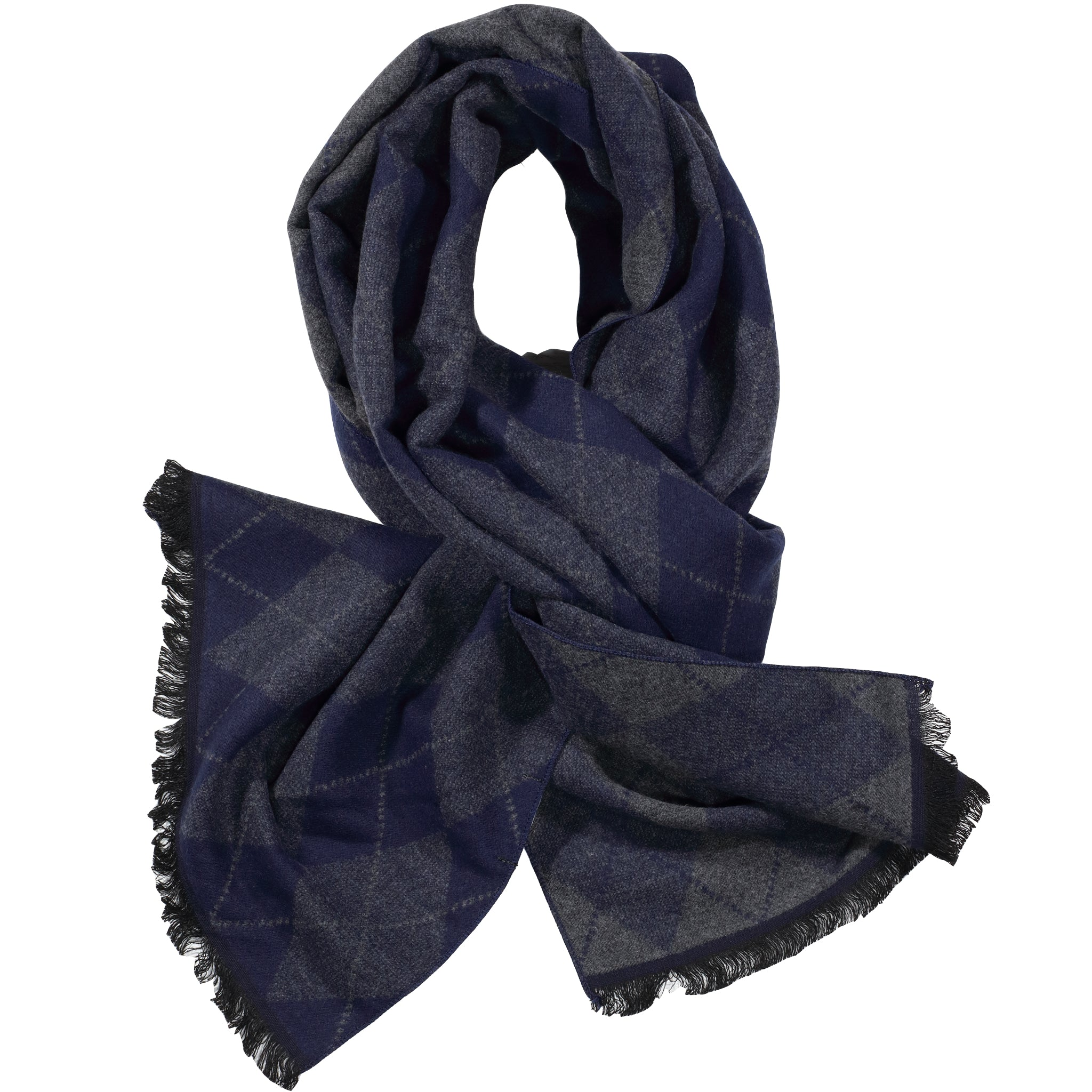 Blue & Grey Diamond Scarf
