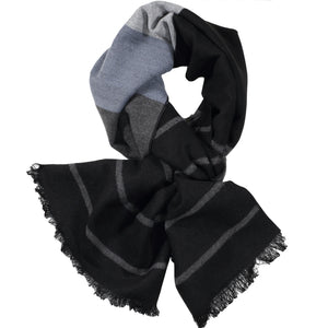 Black, Charcoal, & Light Grey Scarf