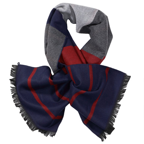 Charcoal, Red, & Navy Scarf
