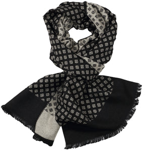 Black & Ivory Mini Diamond Scarf