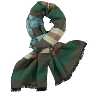 Green, Beige, & Light Blue Scarf