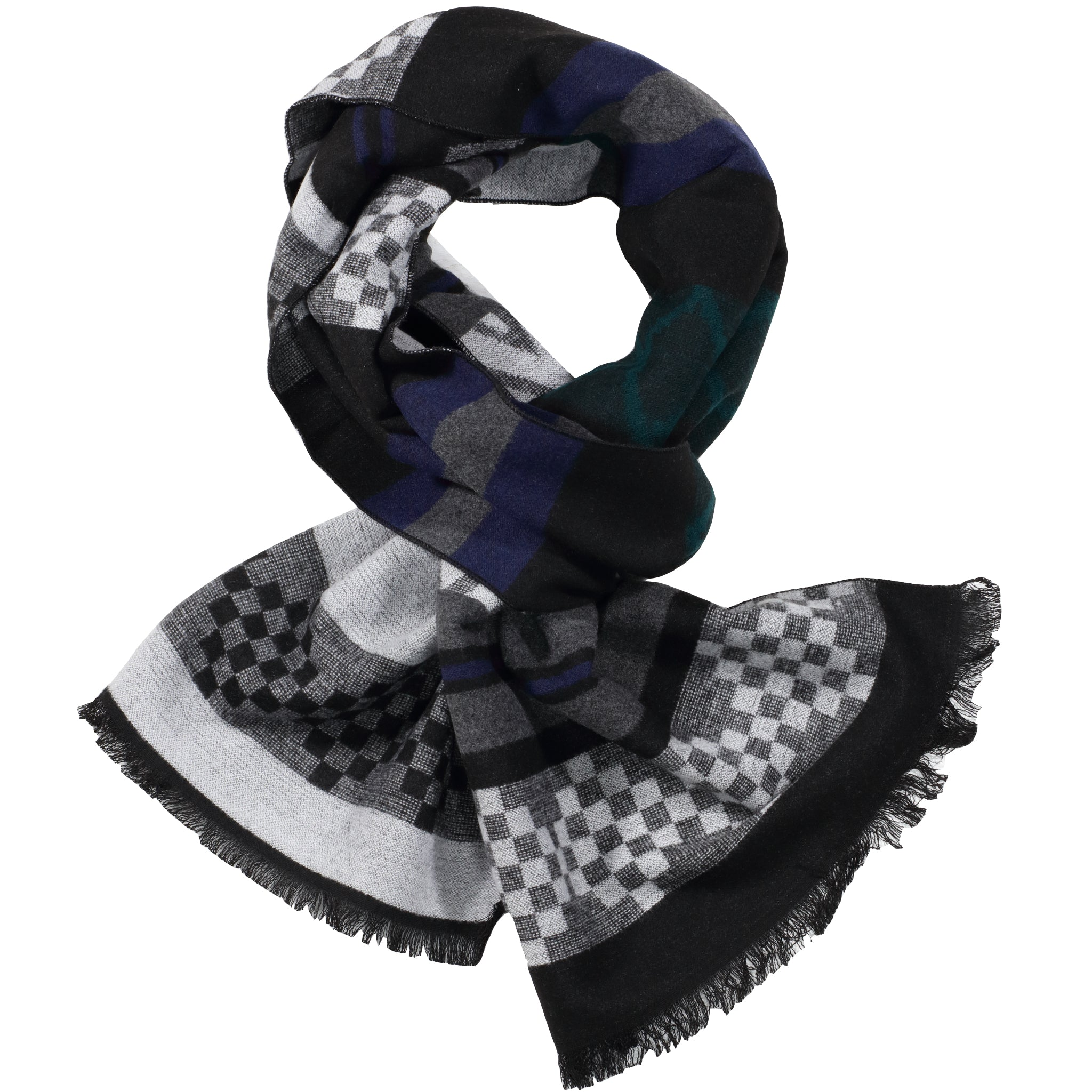 Black, Grey, & Teal Scarf