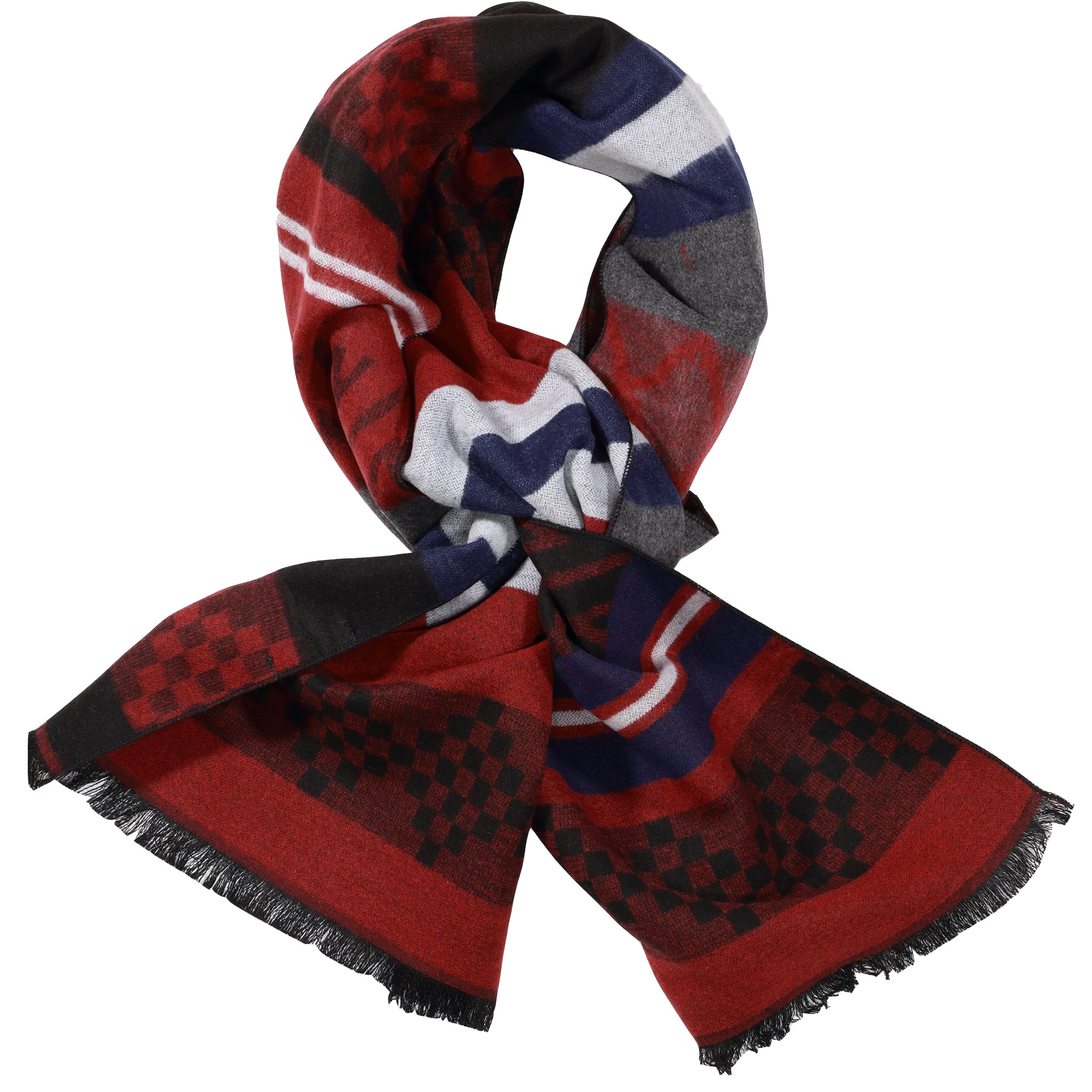 Red, Black, & Navy Scarf