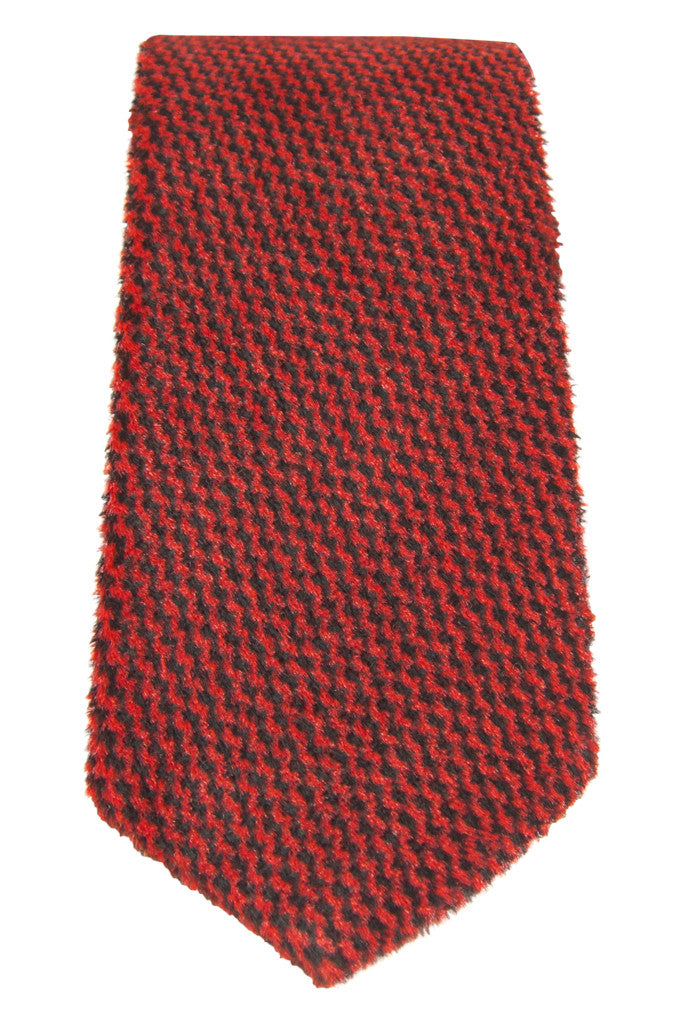 Plush Red Herringbone Tie
