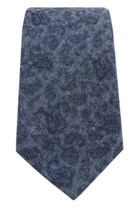 Navy & Dark Blue Paisley Chambray Tie