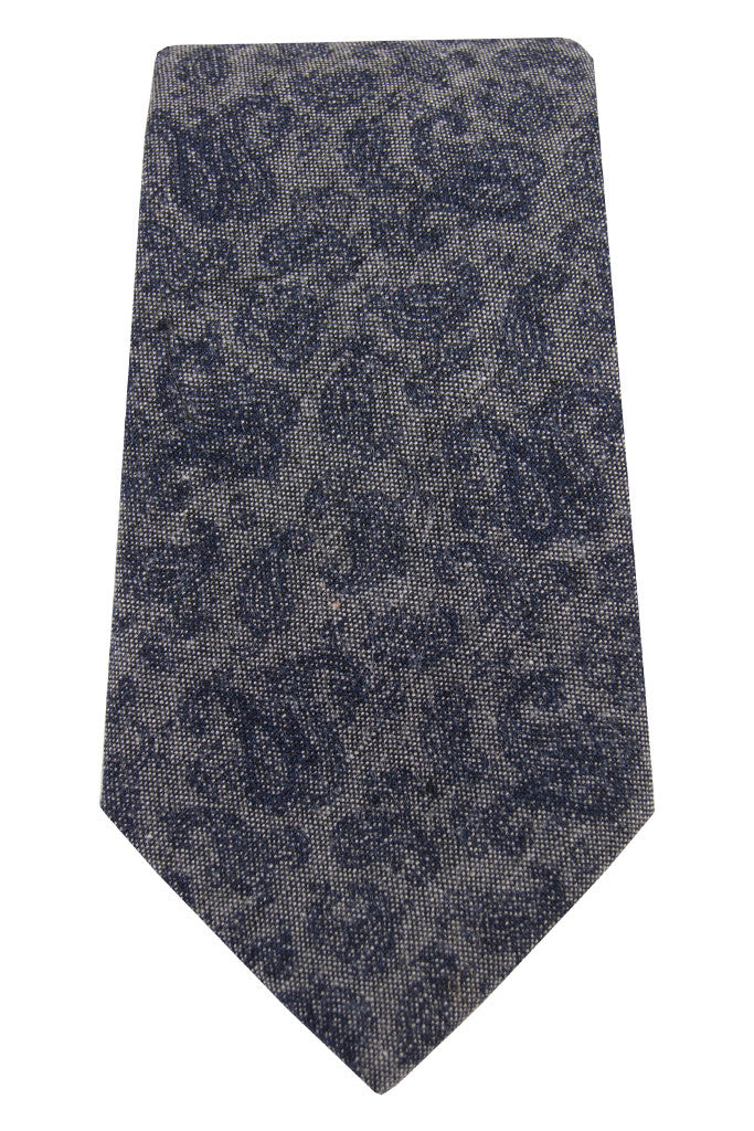 Grey & Navy Paisley Chambray Tie