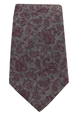 Burgundy & Grey Paisley Chambray Tie