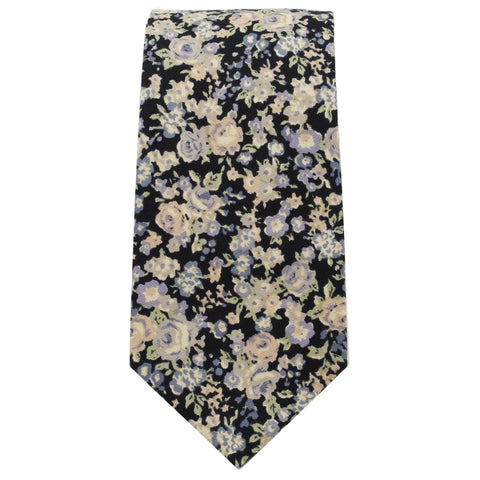 Black, Blue, & Ivory Multi Floral Tie