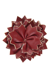 Burgundy Leather Lapel Pin