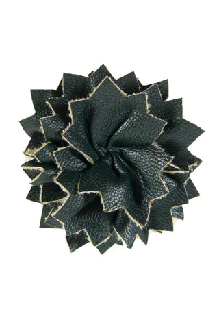 Dark Green Leather Lapel Pin