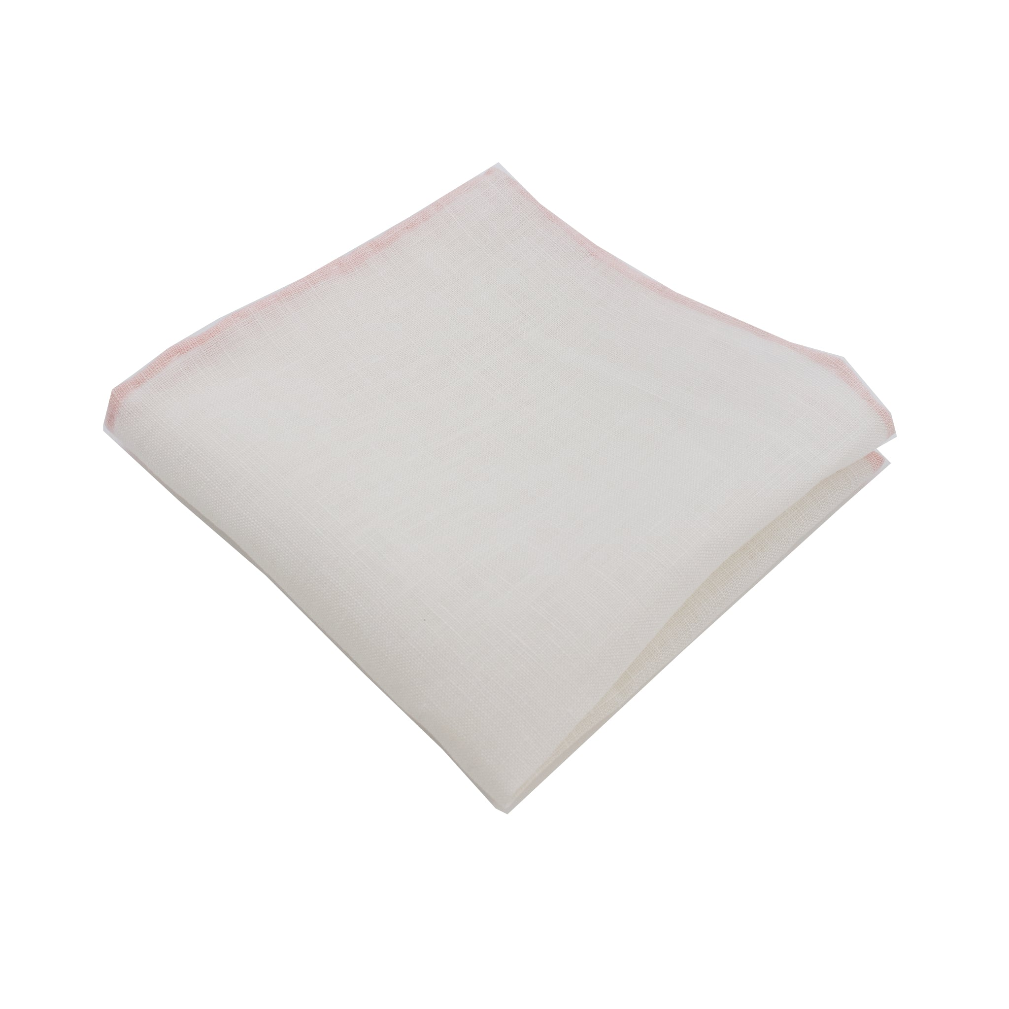 White Linen Pocket Square w/ Blush Trim