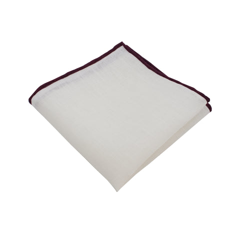 White Linen Pocket Square w/ Burgundy Trim