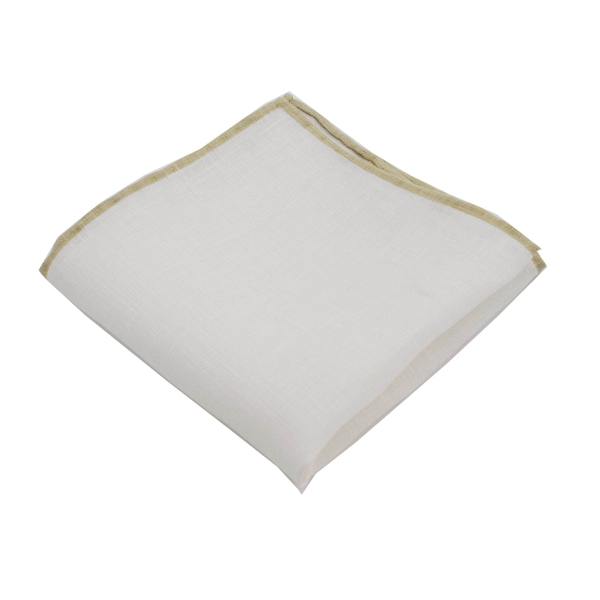 White Linen Pocket Square w/ Khaki Trim
