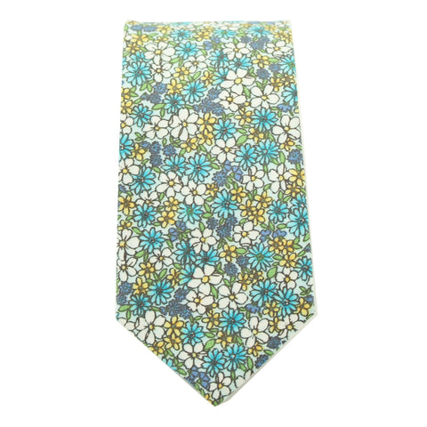Blue Micro Floral Print Cotton Tie