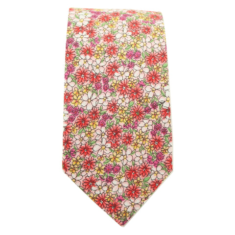 Pink Micro Floral Print Cotton Tie