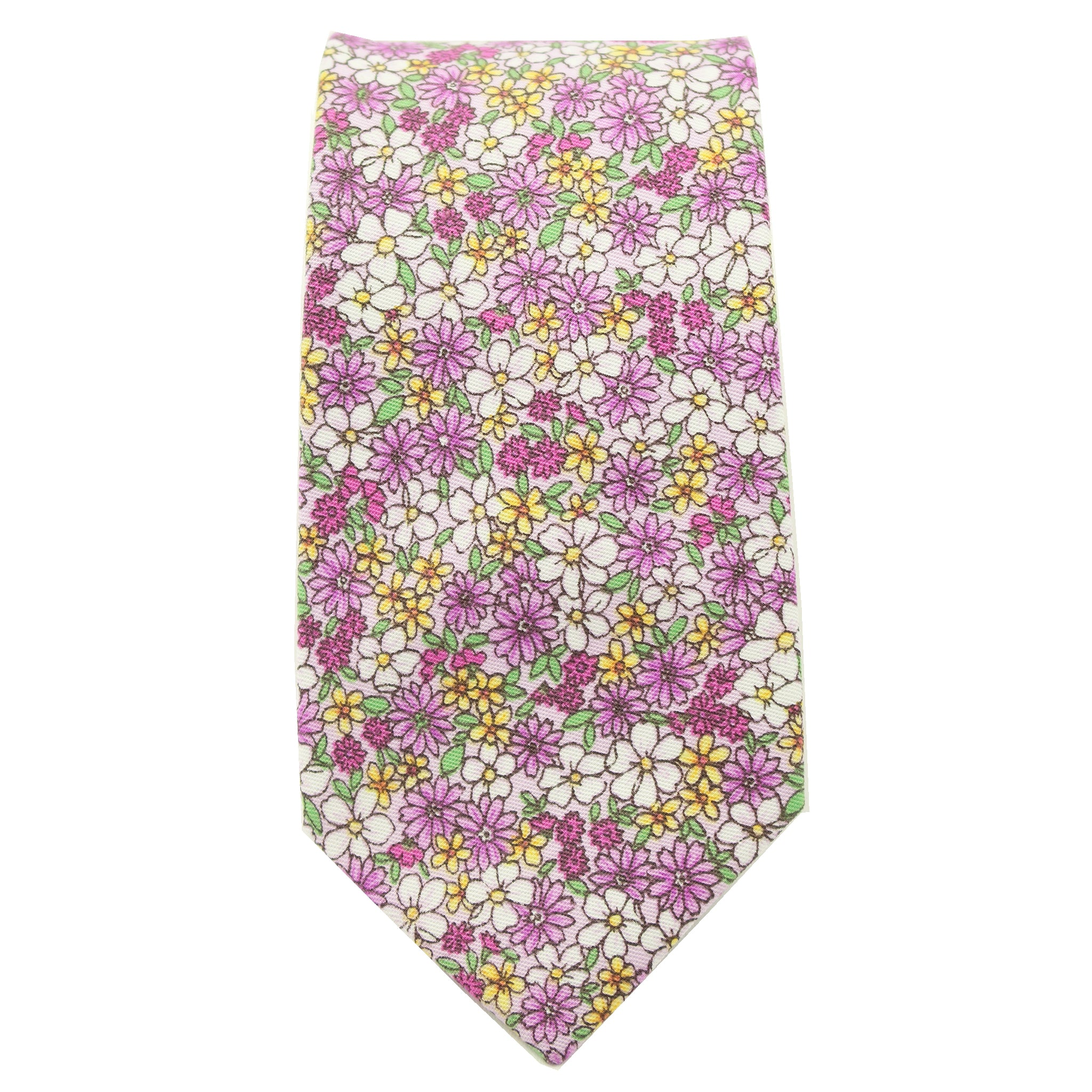 Purple Micro Floral Print Cotton Tie