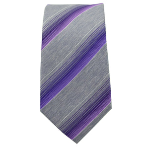 Purple & Silver Striped Tie