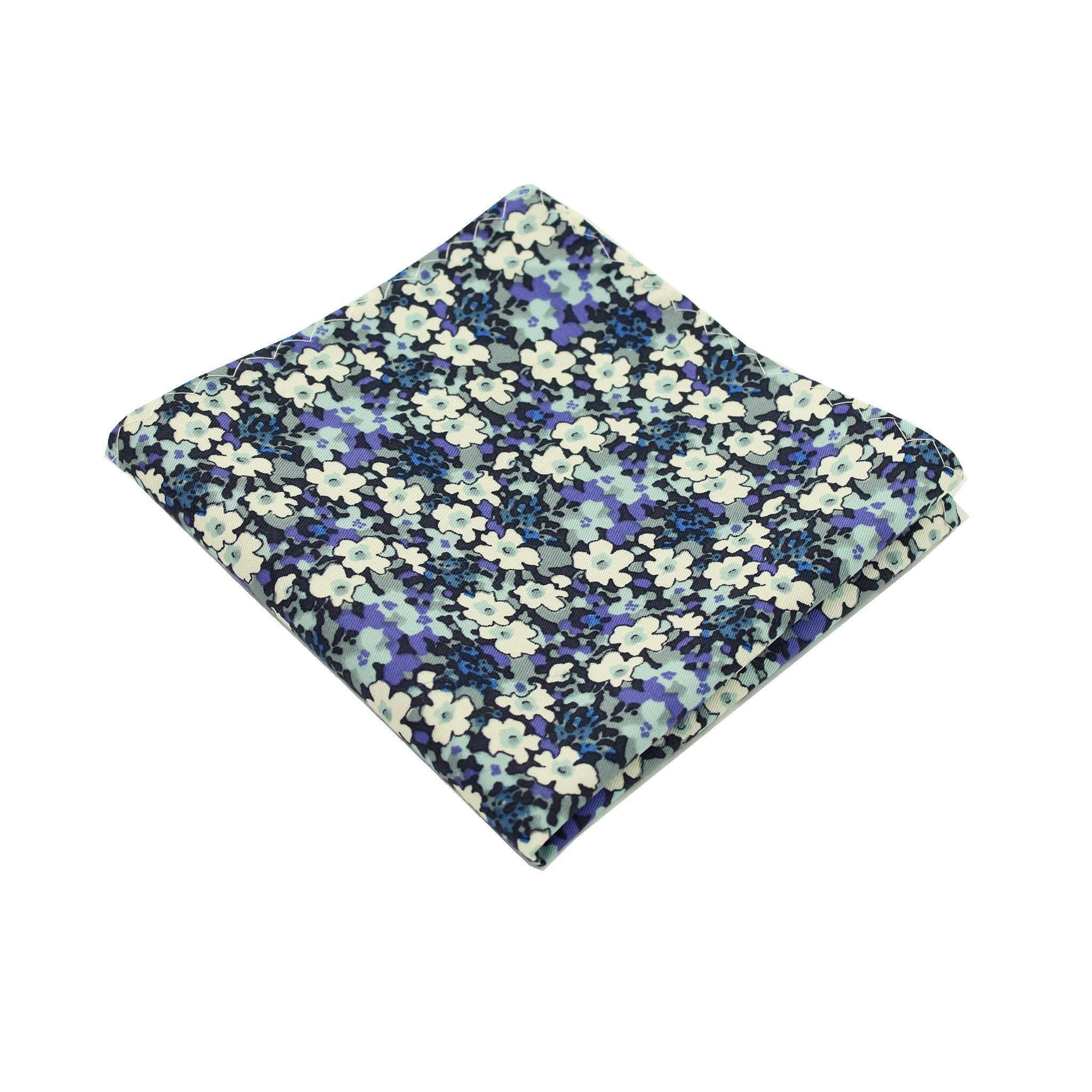 Multi Blue Floral Cotton Pocket Square