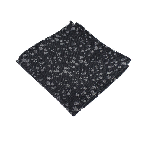 Black & Silver Floral Pocket Square from DIBI