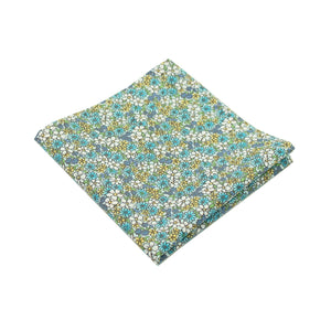Blue Micro Floral Print Cotton Pocket Square