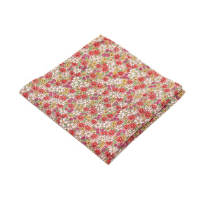 Pink Micro Floral Print Cotton Pocket Square