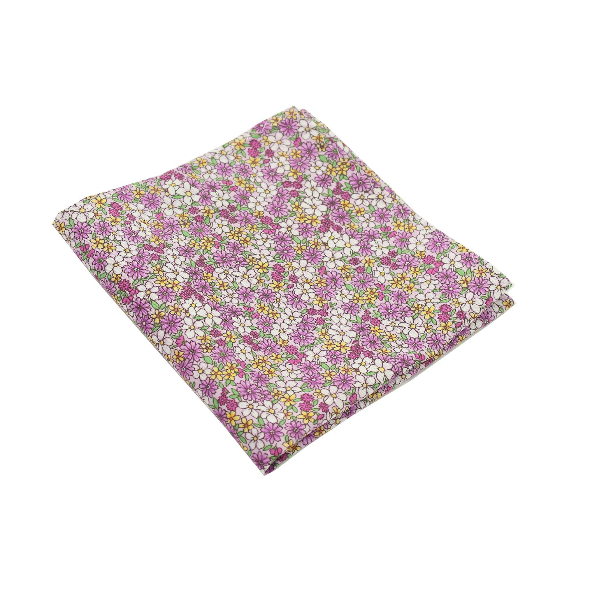 Purple Micro Floral Print Cotton Pocket Square