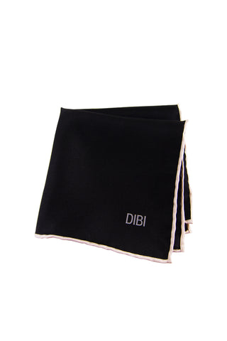 100% Silk Black Pocket Square W/ White Trim