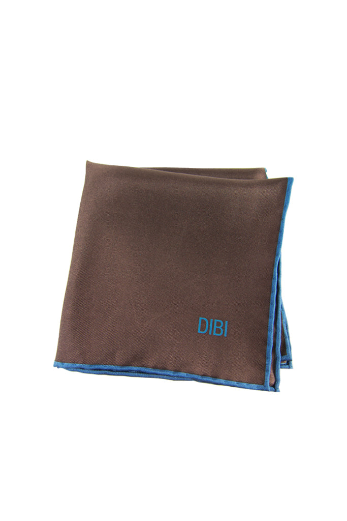 100% Silk Brown Pocket Square W/ Light Blue Trim