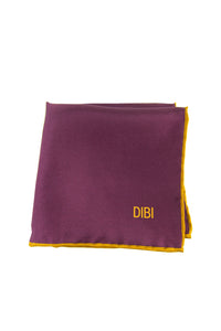 100% Silk Burgundy Pocket Square W/ Gold Trim
