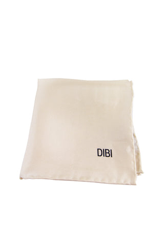 100% Silk Cream Pocket Square W/ Cream Trim