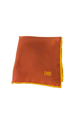 100% Silk Dark Orange Pocket Square W/ Gold Trim
