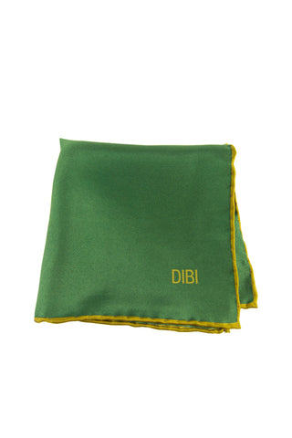 100% Silk Green Pocket Square W/ Gold Trim