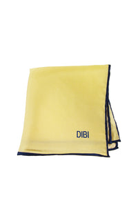 100% Silk Light Yellow Pocket Square W/ Navy Trim