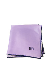 100% Silk Lilac Pocket Square W/ Navy Trim