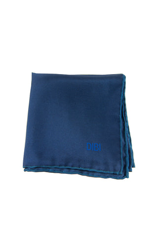 100% Silk Navy Pocket Square W/ Royal Blue Trim