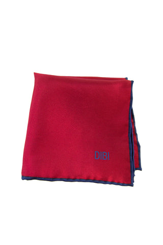 100% Silk Red Pocket Square W/ Navy Trim