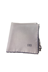 100% Silk Silver Pocket Square W/ Charcoal Trim