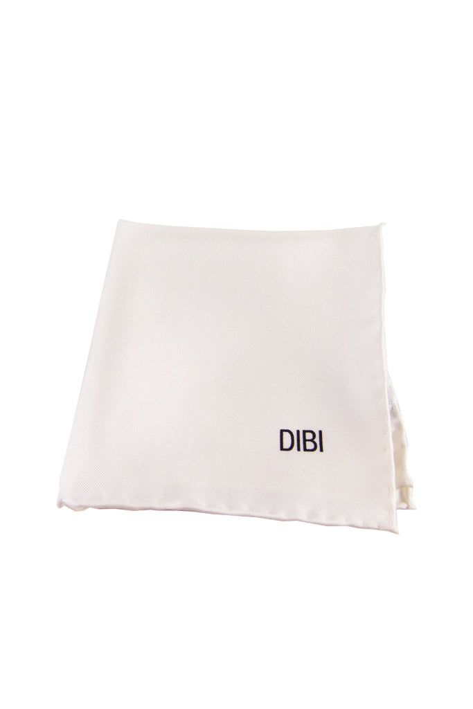100% Silk White Pocket Square W/ White Trim