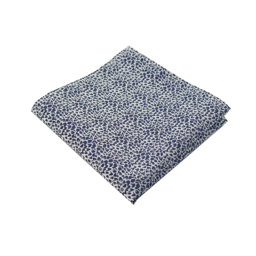 Steel Blue & Silver Floral Pocket Square