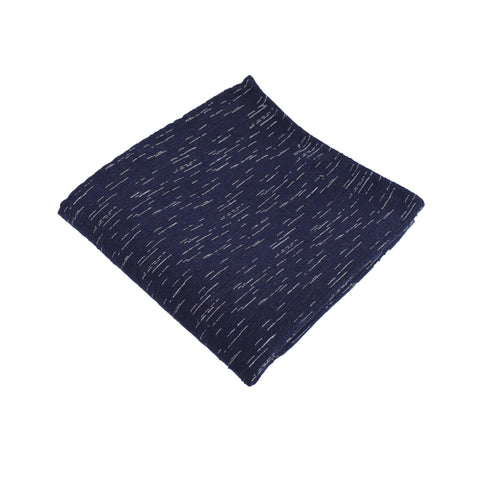 Navy Wool Textured Pocket Square