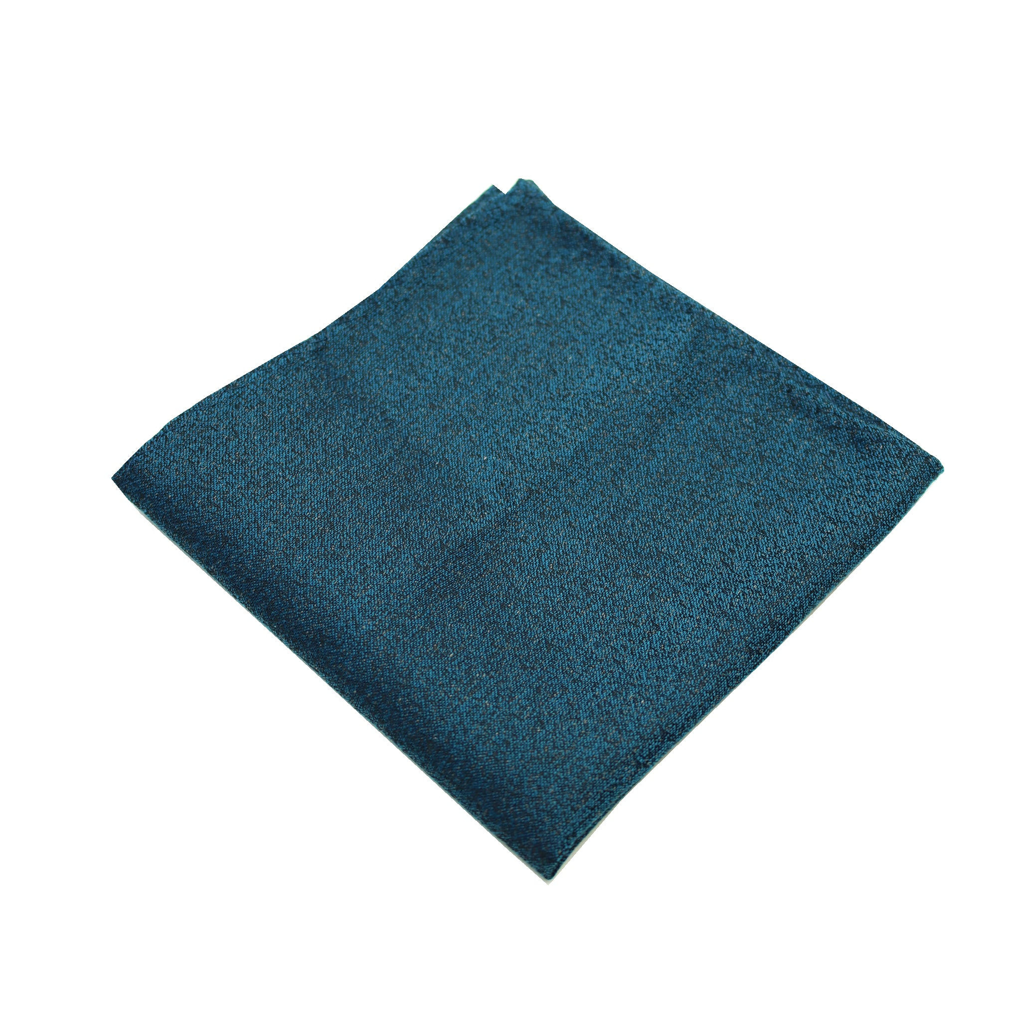 Aqua & Black Textured Pocket Square