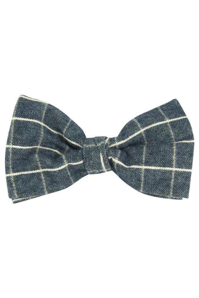 Muted Navy Plaid Pre Tie Bow Tie