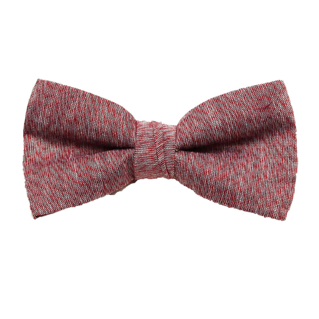 Burgundy & Grey Linen Pre Tie Bow Tie & Pocket Square Set