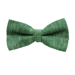 Green & Black Linen Pre Tie Bow Tie & Pocket Square Set