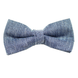 Navy & Black Linen Pre Tie Bow Tie & Pocket Square Set